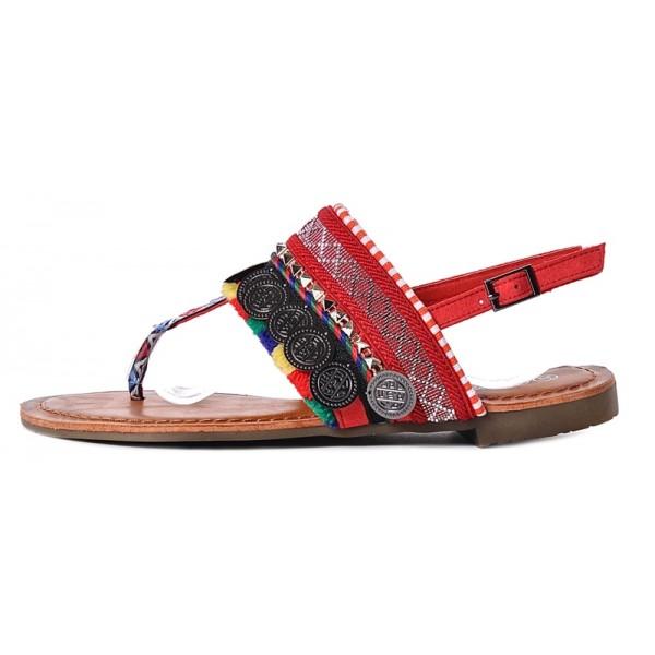 Sandały damskie na płaskiej podeszwie czerwone
