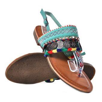 Sandały damskie na płaskiej podeszwie etniczne