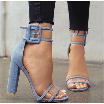 Jeansowe sandały na obcasie stylowe