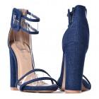 Dżinsowe sandały na obcasie