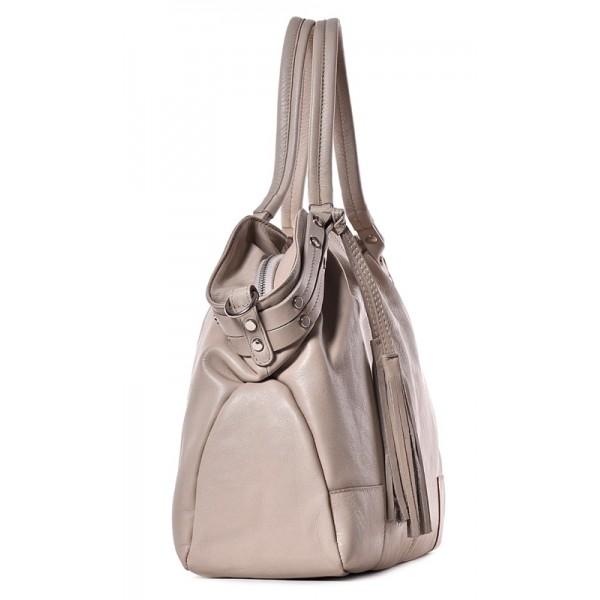 Skórzana torba damska beżowa