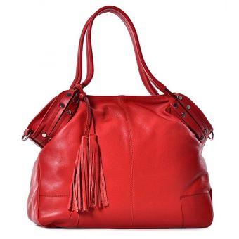 Duża torebka damska ze skóry czerwona