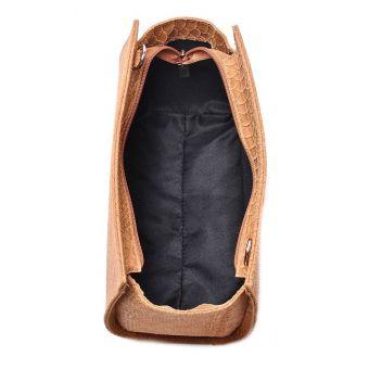 Skórzana torebka listonoszka brązowa