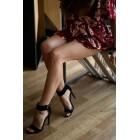 Czarne sandały damskie na obcasie eleganckie szpilki