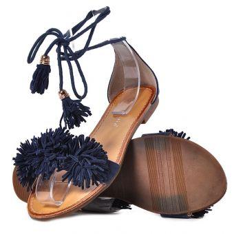 Sandały damskie granatowe na płaskiej podeszwie
