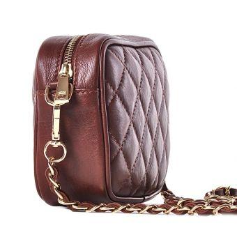 Brązowa torebka na łańcuszku chanelka