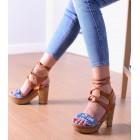 Sandały damskie dżinsowe na drewnianym obcasie