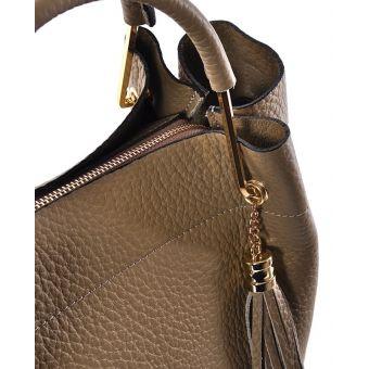 Damska torebka beżowa skórzana z frędzlami