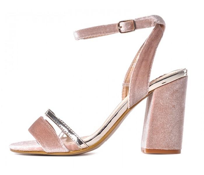 b516faa25ae2ca Zamszowe sandały damskie na słupku różowe