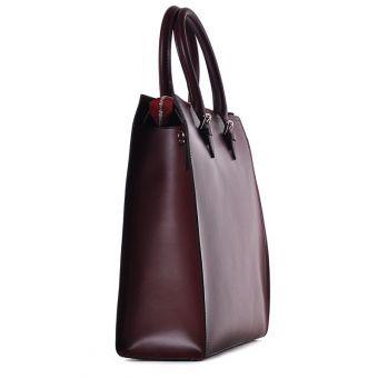Bordowa torba damska ze skóry biznesowa