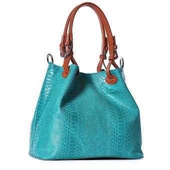 Niebieska torebka damska ze skóry worek