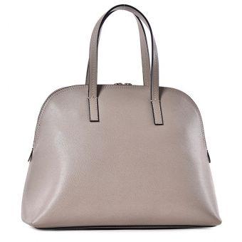 Beżowa torebka damska kuferek ze skóry