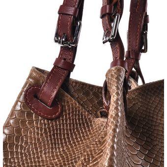 Beżowa torebka damska ze skóry worek