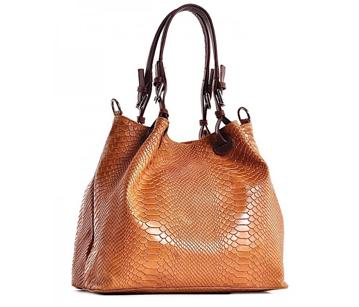 Skórzana torebka damska wężowy wzór