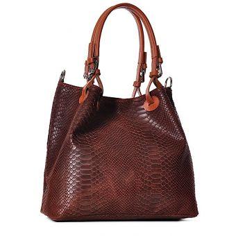 Włoska torba damska ze skóry naturalnej brązowa
