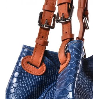 Niebieska torebka damska ze skóry
