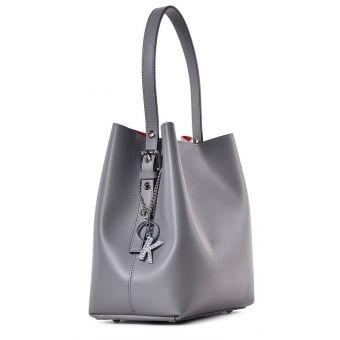 Szara torebka damska skórzana do ręki
