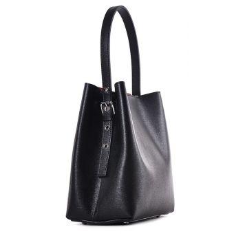 Elegancka czarna torebka skórzana do ręki
