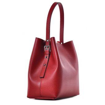 Skórzana torebka damska czerwona do ręki