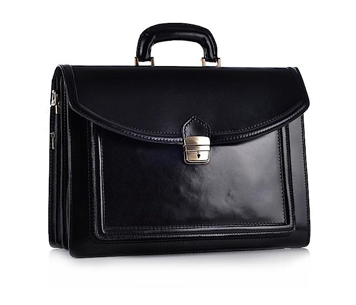 3ecc25e140154 Czarna torba męska biznesowa ze skóry