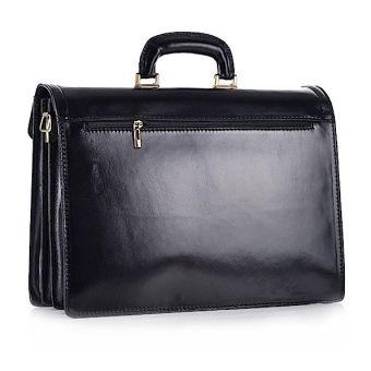 Czarna torba męska biznesowa ze skóry