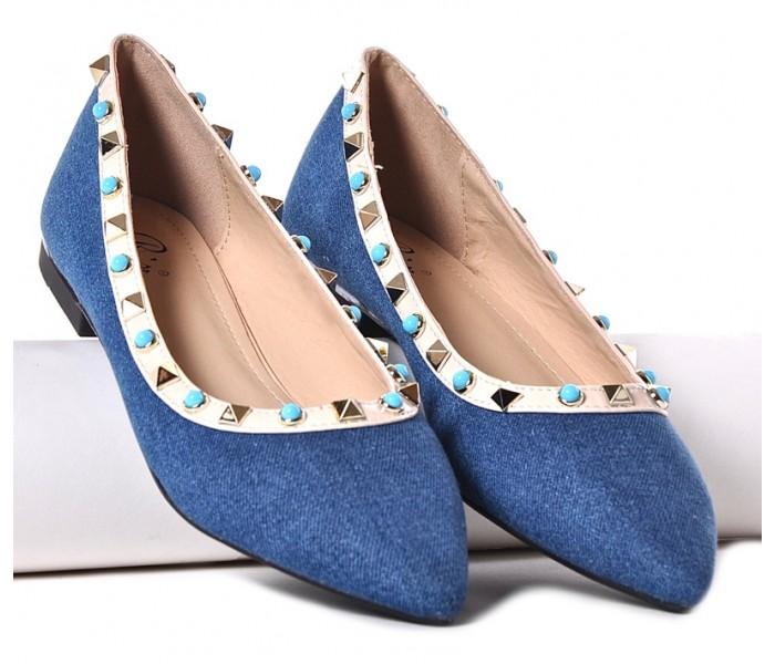 Dżinsowe balerinki z ćwiekami niebieskie