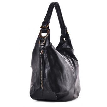 Włoska torebka skórzana czarna na ramię