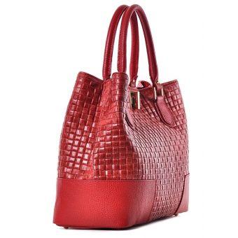Damski kuferek skórzany czerwony