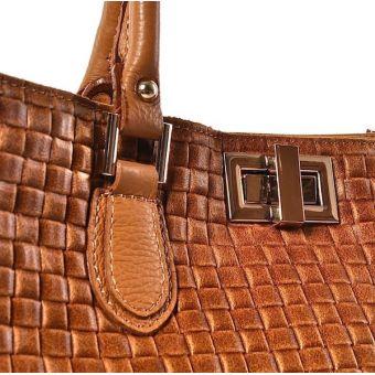 Damski kuferek skórzany rudy brąz