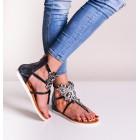 Czarne gladiatorki damskie sandały płaskie z kryształkami