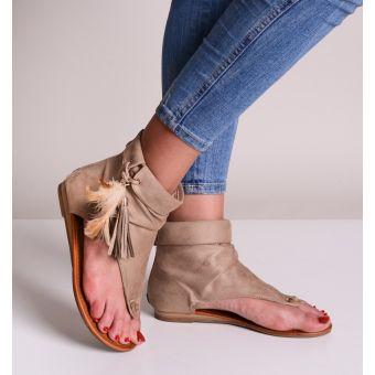 Beżowe sandały damskie zamszowe boho