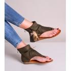 Sandały damskie khaki z wysoką cholewką boho