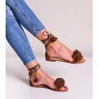 Sandały damskie na płaskiej podeszwie brązowe
