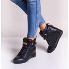 Czarne koturny sportowe sneakersy z kłódką