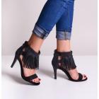 Czarne szpilki damskie sandały z frędzlami