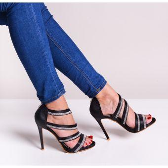 Czarne sandały damskie na obcasie kryształki