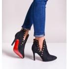 Czarne botki damskie z czerwoną podeszwą