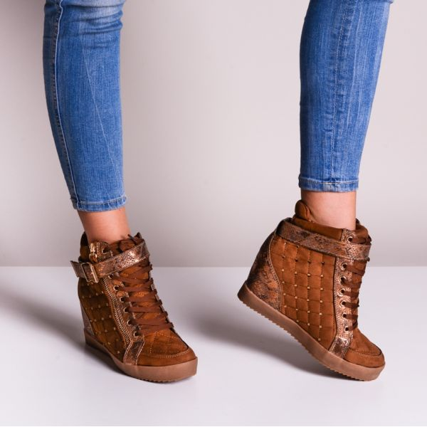 Buty damskie sneakersy brązowe