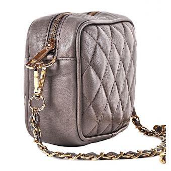 Skórzana torebka damska pikowana na łańcuszku
