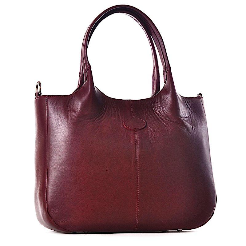 b588c15c273fa Bordowa torba damska ze skóry na laptopa ...