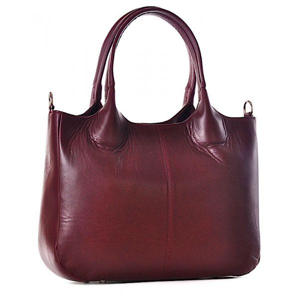 Bordowa torba damska ze skóry na laptopa