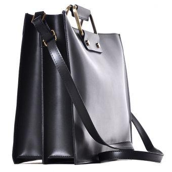 Biznesowa czarna torba na laptopa skórzana