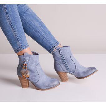Kowbojki damskie na słupku niebieskie