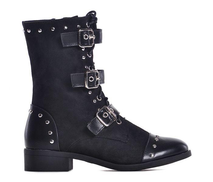 Czarne botki damskie sznurowane
