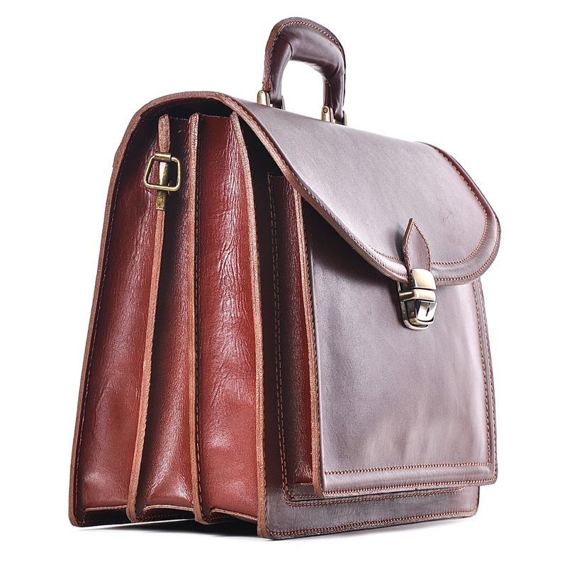 1738d9ba8aedd Skórzana torba męska brązowa na laptopa