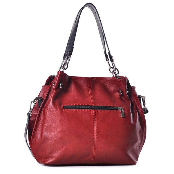 Czerwona torebka ze skóry naturalnej