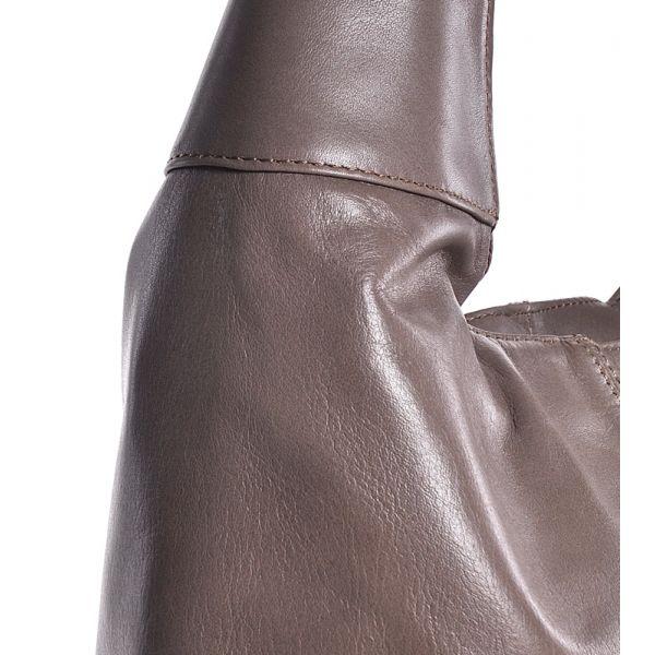 Beżowa torebka damska ze skóry na ramię