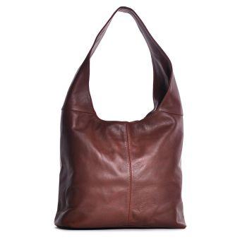 Brązowa torebka damska ze skóry na ramię
