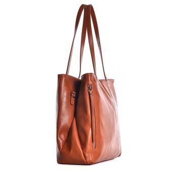 Skórzana torebka damska do pracy brązowa