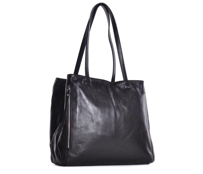 Czarna torba damska a4 ze skóry naturalnej
